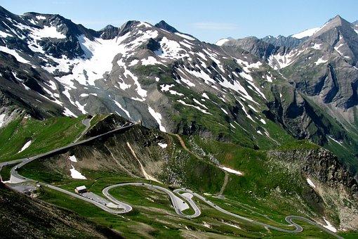 자연, 경치, 알프스 산맥의, 사문석, 산맥, 하늘, 여름, 하이킹