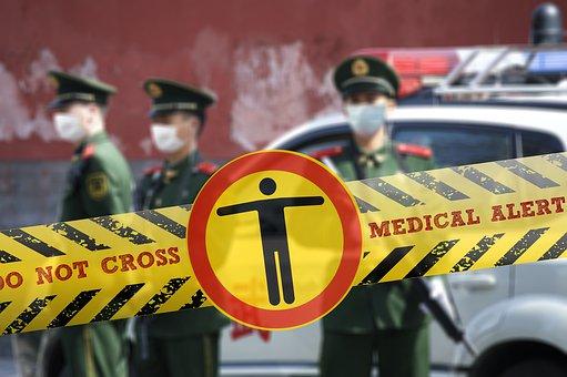 Coronavirus, ウイルス, 障壁テープ, 警察, 障壁, 医療, 緊急