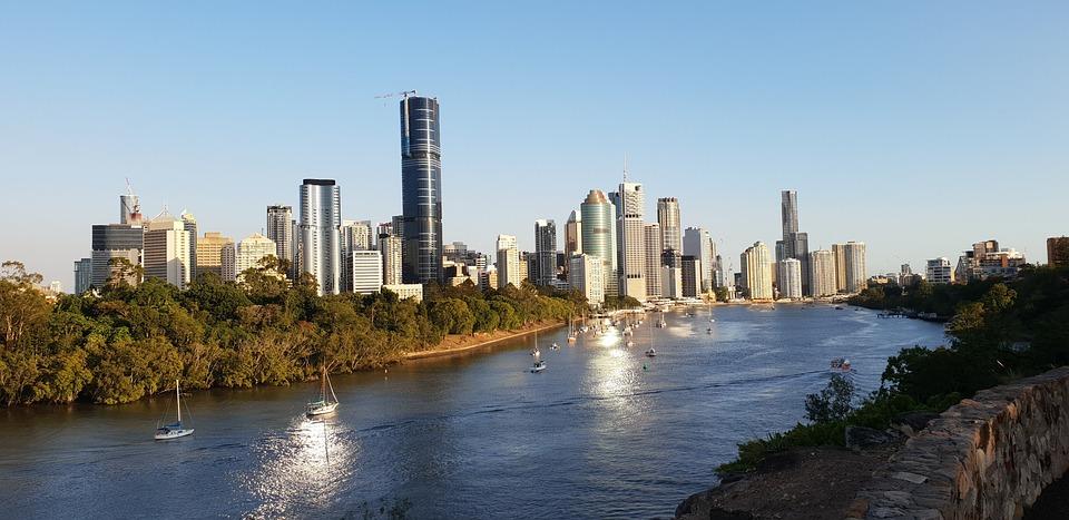Brisbane, Queensland, Australië, Stad, Rivier, Brug