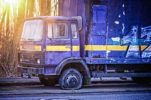 Wheel, Tire, Truck, Breakdown, Flat Tire