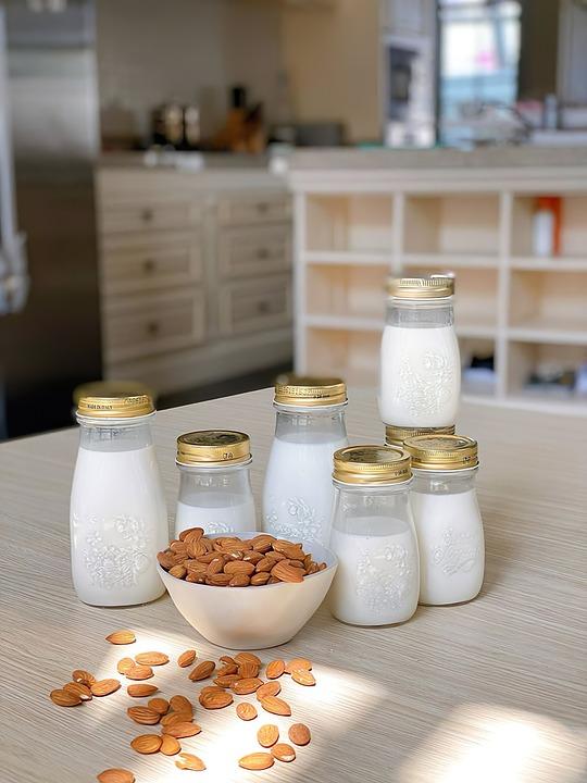 豆乳, 牛乳, ナット, 食品, おいしい, 栄養, 食べる, 新鮮な, 菜食主義者, 朝食, ナッツミルク