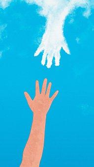 絵画, ファンタジー, 手, 手をつないで, クラウド, キャッチ, 接続