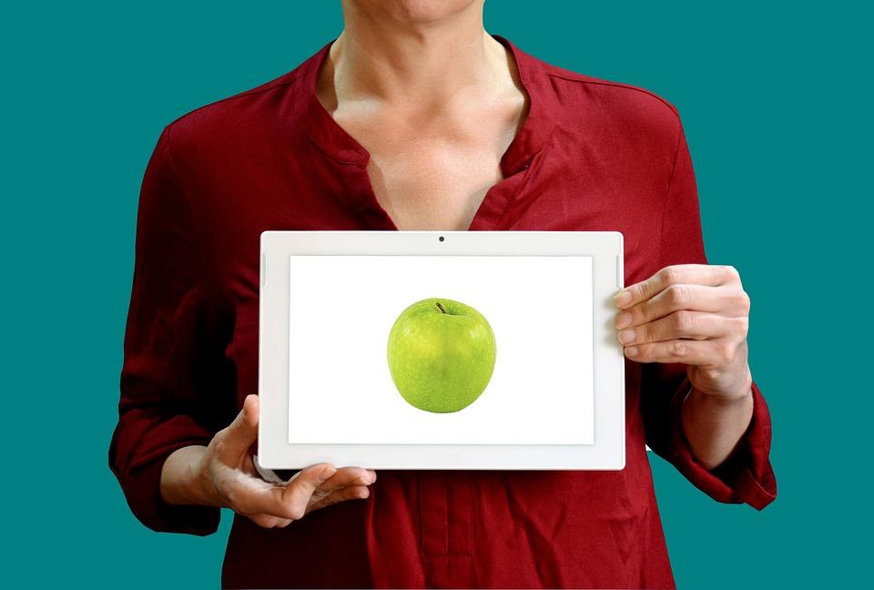 Diet, Apple, Woman, Sign, Healthy, Food, Fresh