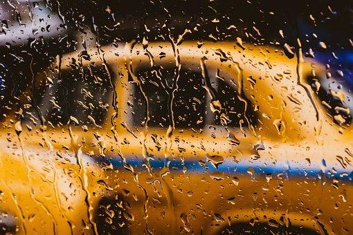 タクシー, 屋外, Blurd, 水, 湿った, 露, ガラス, 雨の水