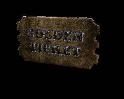 Golden, Ticket, Admission, Decorative