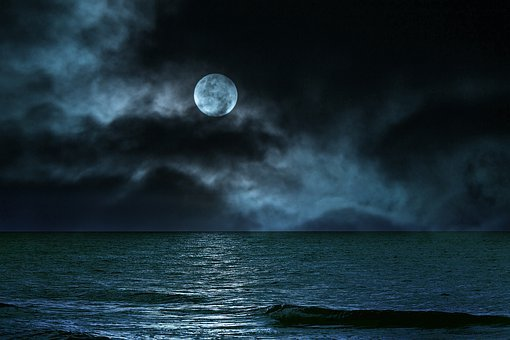 Landscape, Sea, Night, Sky, Moon, Clouds