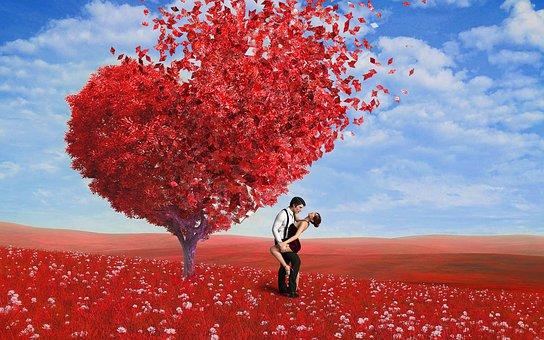 Cinta, Romantis, Penyebaran, Merah