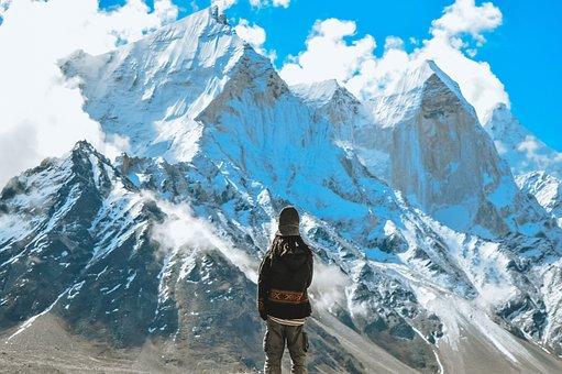 Peeks, Snow, Mountains, Sky, Blue, Man