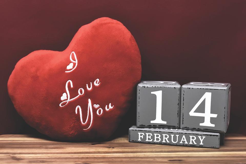 Valentinstag, 14, Februar, Liebe, Grußkarte, Datum