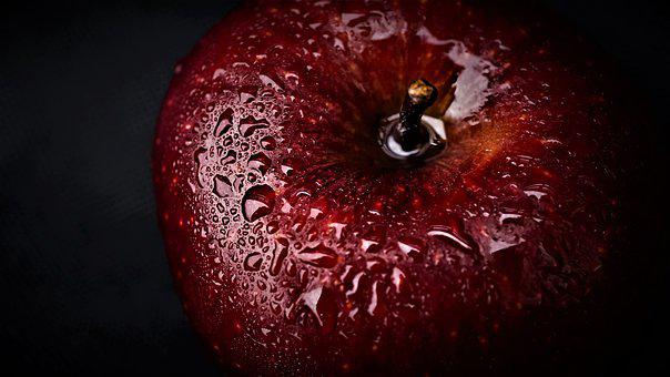 Apple, Background, Red, Dark, Water