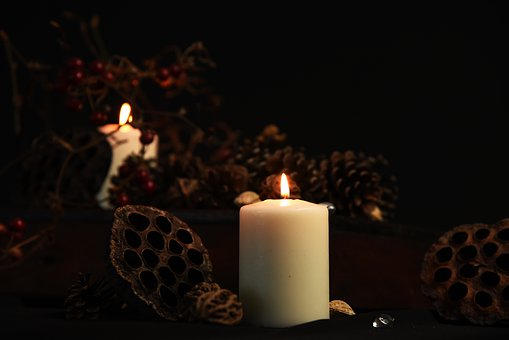 Kerze, Kerzenhalter, Obst, Fenster