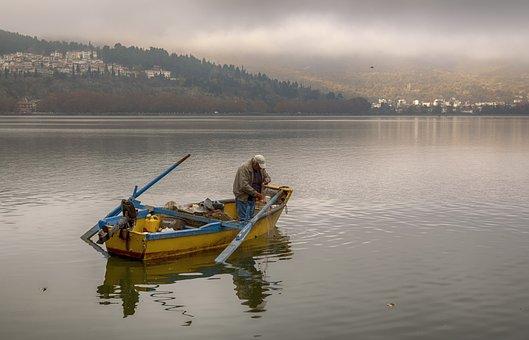 Boat, Fisher, Fishing, Lake, Fisherman