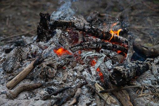 Ashes, Smoke, Wood, Fire, Fireplace