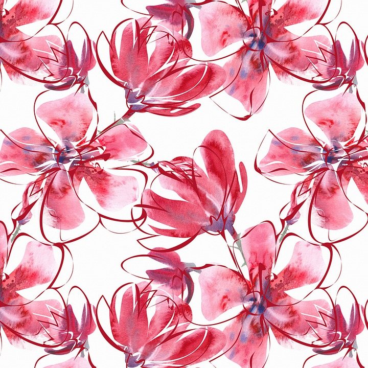 Watercolor Floral Background, Red Flowers, Watercolor