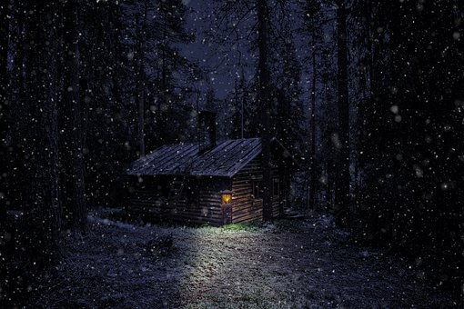 Winter, Snow, Log Cabin, Nature