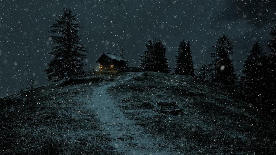 Winter, Snow, Log Cabin, Nature, Landscape, Frost