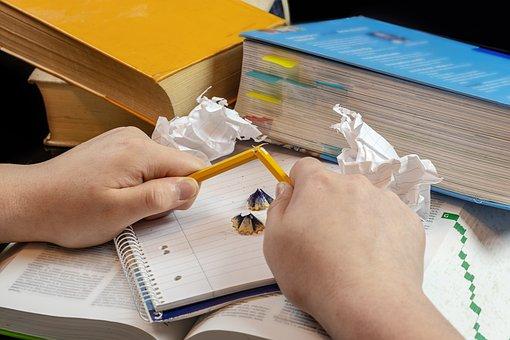 Books, Pencil, Hands, Paper, Pen