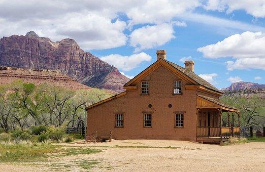 犹他州, 沙漠, 鬼城, 农村, 风景, 格拉夫顿, 房子, 弃, 砂岩