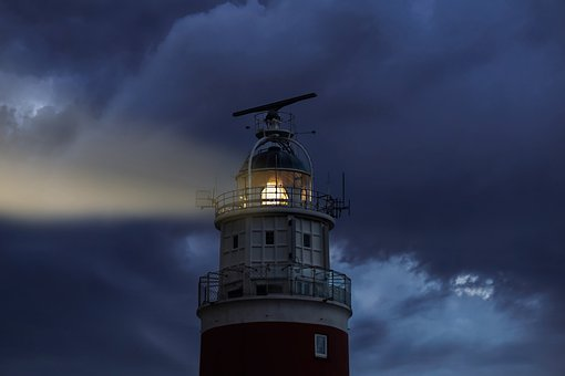 Lighthouse, Evening, Light, Sky, Clouds