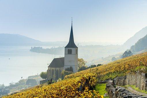 Church, Lake, Lake Biel, Autumn, Fog