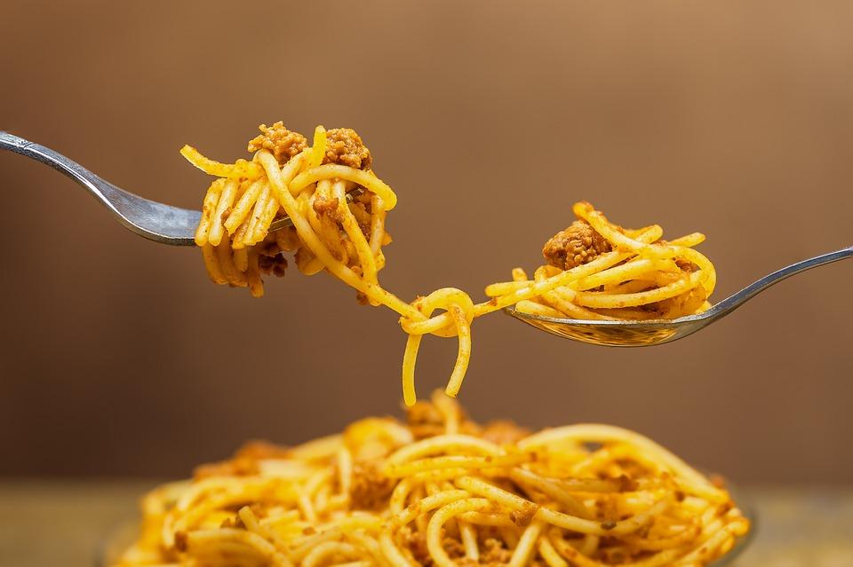 Nudeln, Spaghetti, Pasta, Verknotet, Verbunden, Fleisch