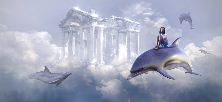 Fantasy, Dolphin, Flying, Building, Girl