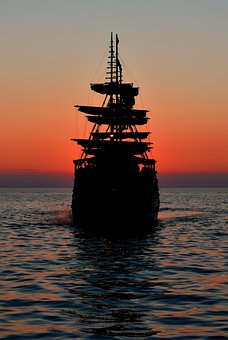 Sunset, Sea, Ship, Boat, Vessel