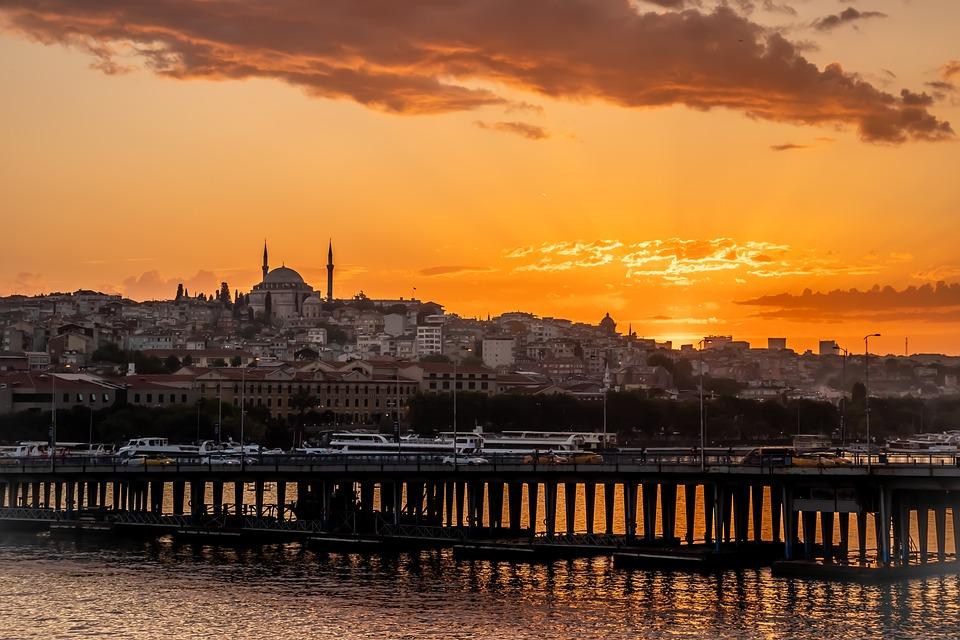 Zachód Słońca, Stambuł, Turcja, Niebo, Islam, Turecki