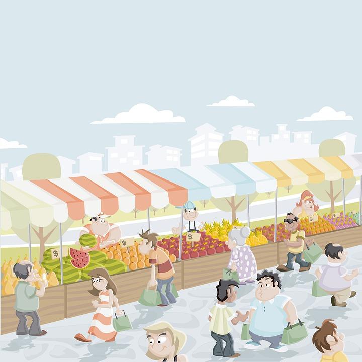 市場, 購入, 公平, 人, 販売, 食物, フルーツ, 動き