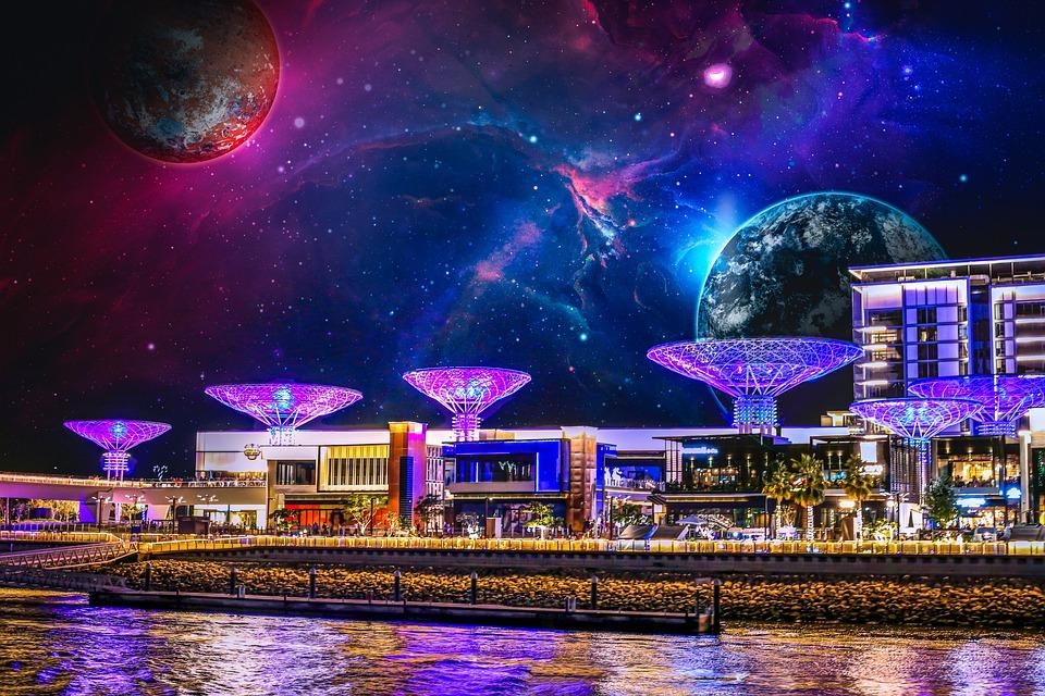 ファンタジー, 宇宙, 風景, スペース, 惑星, スター, カラフル, 満天の星空, 宇宙ステーション