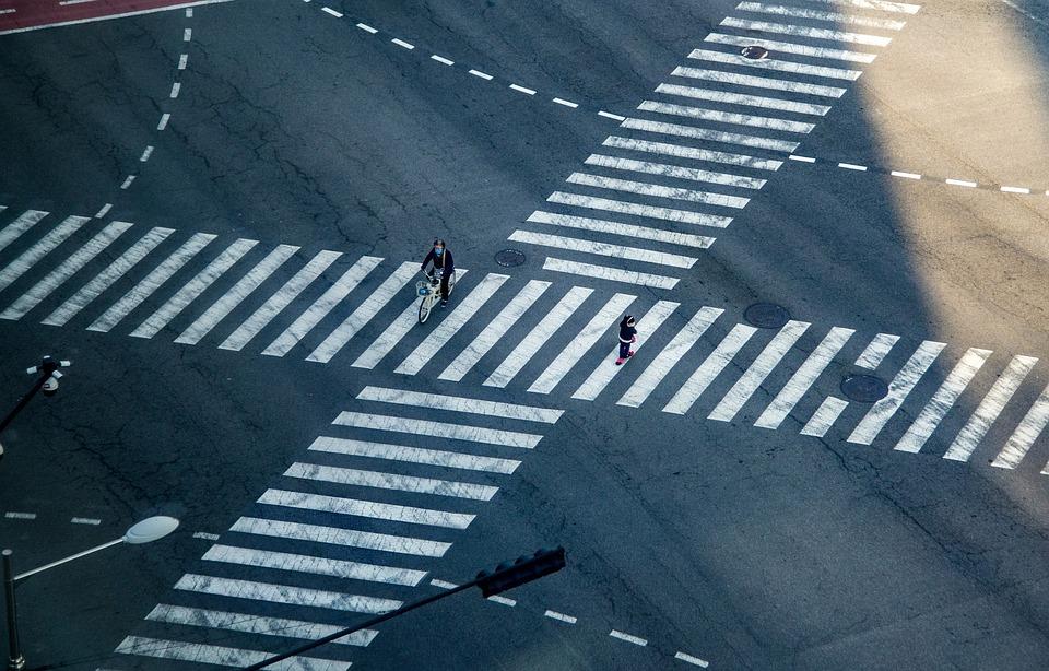 Junction, Crosswalk, Transition, Road, City, Human