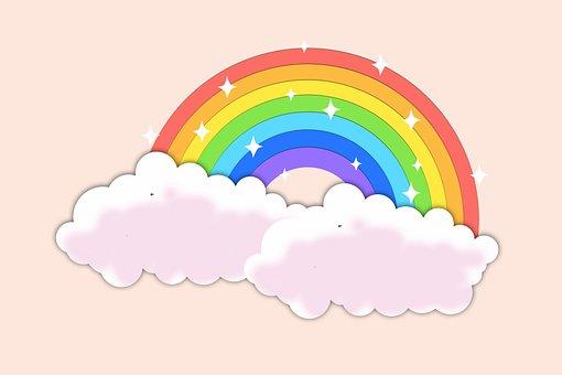 背景, ピンク, 虹, クラウド, マゼンタ, パステル, 色, パターン