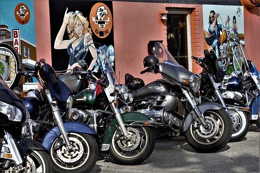 Choppers, Harley, Davidson, Wall, Art