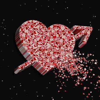 心, ロマンチックな, 愛, バレンタイン, カード, 赤, デザイン