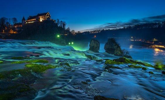 ラインの滝, ライン, 滝, シャフハウゼン, スイス, 水塊, 発泡
