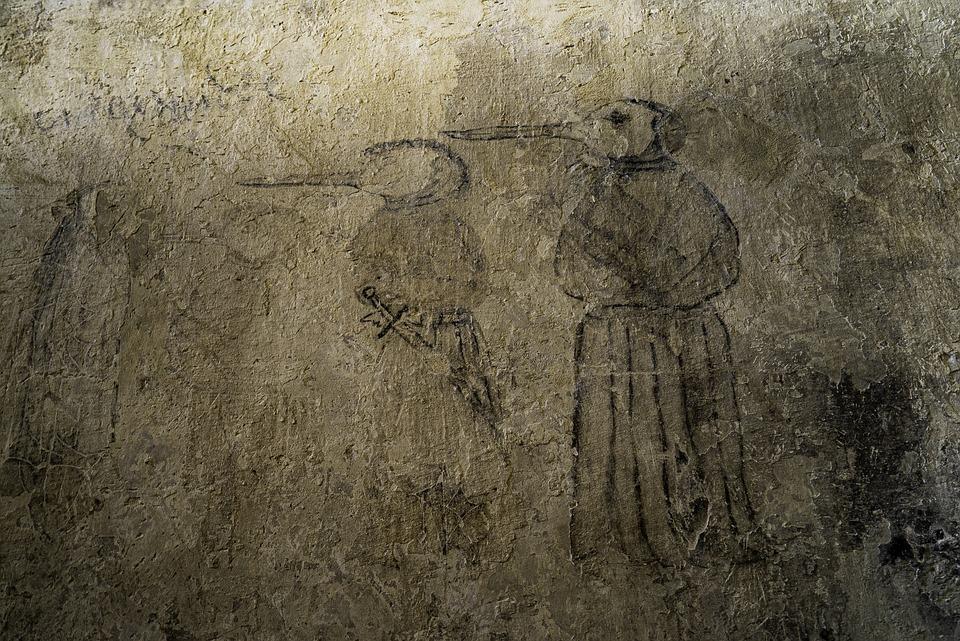 Wall Drawing, Plague, Plague Doctor, Beak Mask