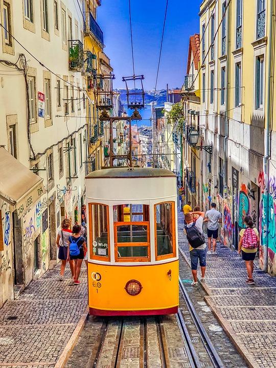 Lisbon, Tram, Portugal, Transport, Travel, Architecture