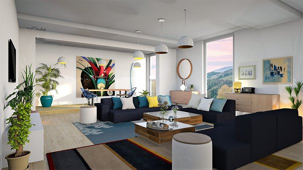 リビングルーム, インテリア、, アパート, ソファ, 家具, 部屋, ホーム
