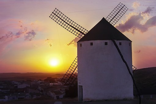 Mlýn, Západ Slunce, Don Quijote, Vítr