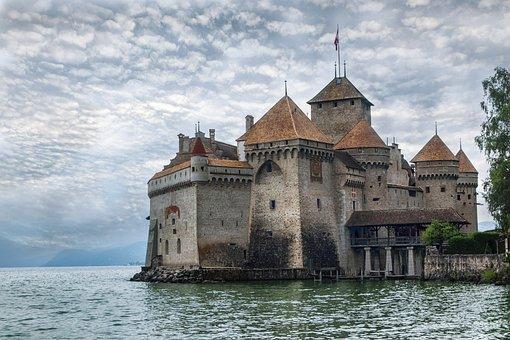 城堡, 瑞士, 西庸, 体系结构, 堡垒, 中世纪, 云