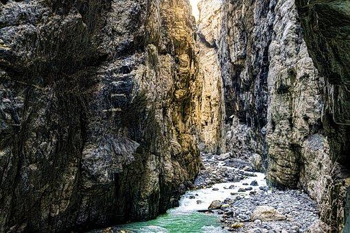Schlucht Felsen, Berge, Stimmung, Wasser