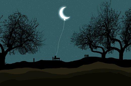 Půlměsíc, Měsíc, Balón, Noc, Hvězda