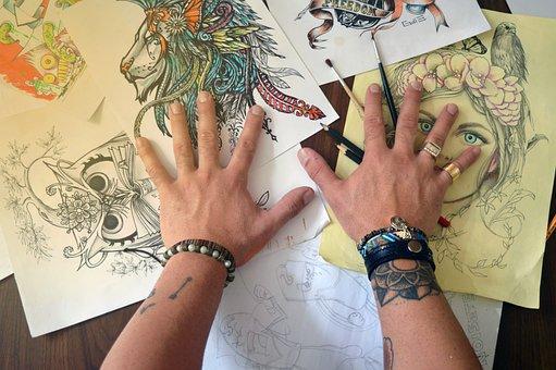 Arte, desenho, pintura, aquarela