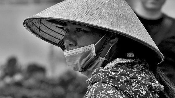 Man, Woman, Mask, Hat, Vietnam, Asia, Bw
