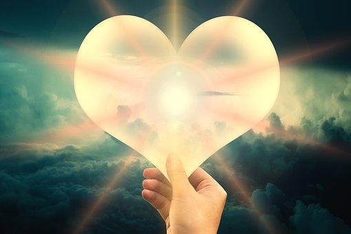 信仰, 愛と希望, 雲, 空, 手, お問い合わせ, 閉じる, 光線, 暖かさ