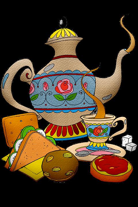 Tea Pot, Tea Sandwich, Biscuits, Scones, Tea, Cup