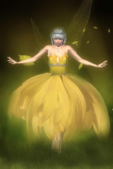Fantasy, Fee, Flower, Meadow, Leaves, Wing, Magic
