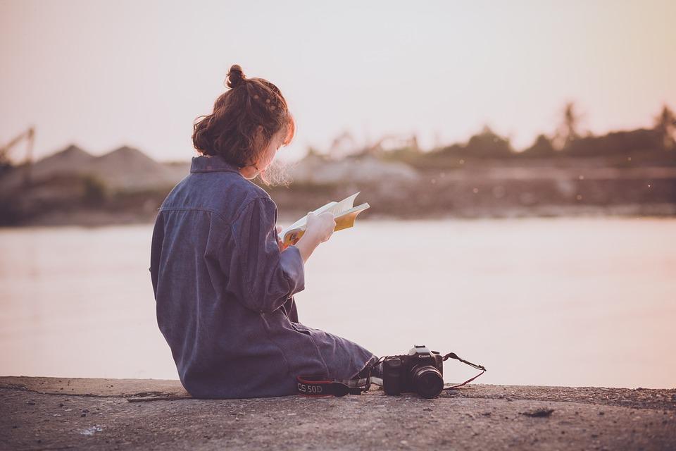 日没, 女性, 読書, レジャー, 緩和, 残り, 女の子, ベトナム語, かわいい, カメラ, 黄金の時間