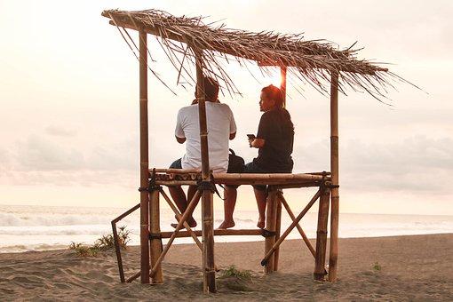 Couple, Beach, Vacation, Sky, Dinner
