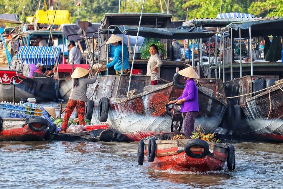 Vietnam, Mekong Elven, River, Flytende Markedet, Båter